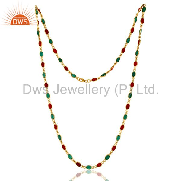 18K Yellow Gold Plated Sterling Silver Green Onyx And Red Onyx Chain Necklace