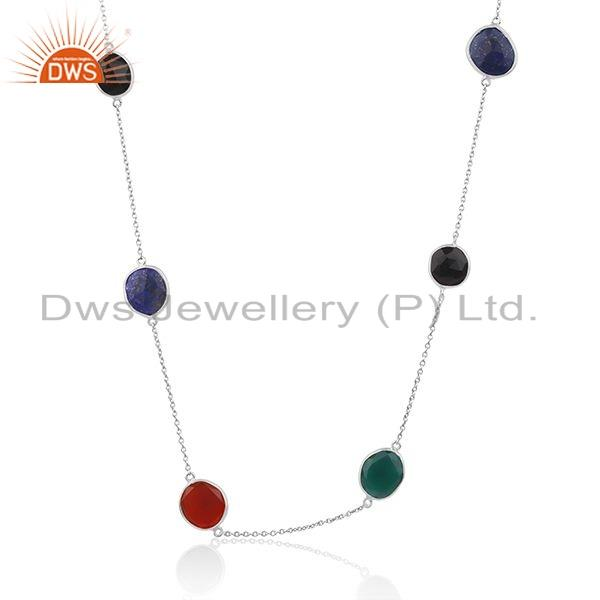 Multi Colour Gemstone Fine Sterling Silver Chain Necklace Jewelry