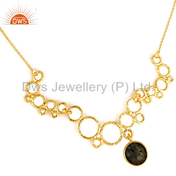 14k gold plated sterling silver labradorite necklace beautiful designed piece