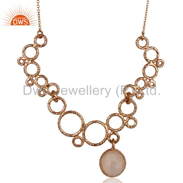 14K Rose Gold Plated Sterling Silver Dyed Chalcedony Gemstone Chain Necklace