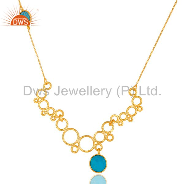 14k gold plated 925 sterling silver natural turquoise gemstone chain necklace