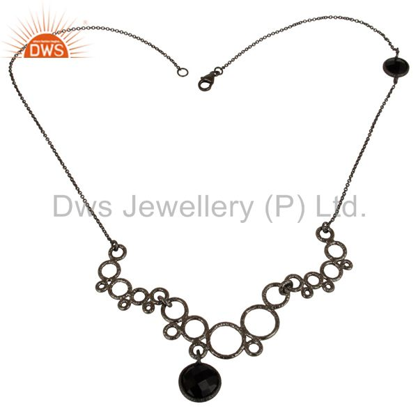 Oxidized 925 sterling silver natural black onyx gemstone chain necklace jewelry