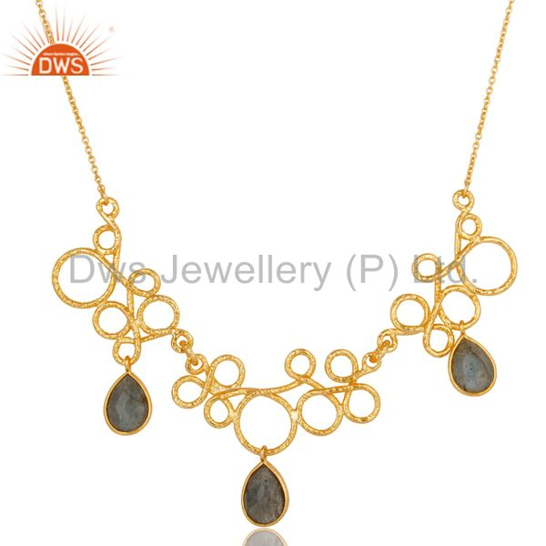 14k gold plated 925 sterling silver handmade designer labradorite necklace