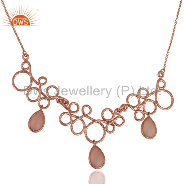 14k rose gold plated sterling silver handmade designer dyed chalcedony necklace