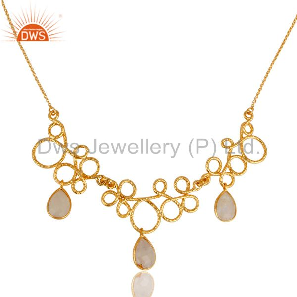 14K Yellow Gold Plated 925 Sterling Silver Rainbow Moonstone Gemstone Necklace