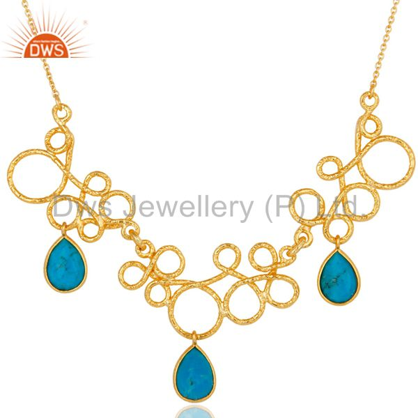 14k yellow gold plated 925 sterling silver natural turquoise gemstone necklace