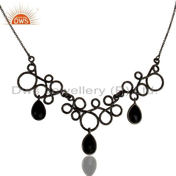 Black oxidized 925 sterling silver natural black onyx gemstone chain necklace