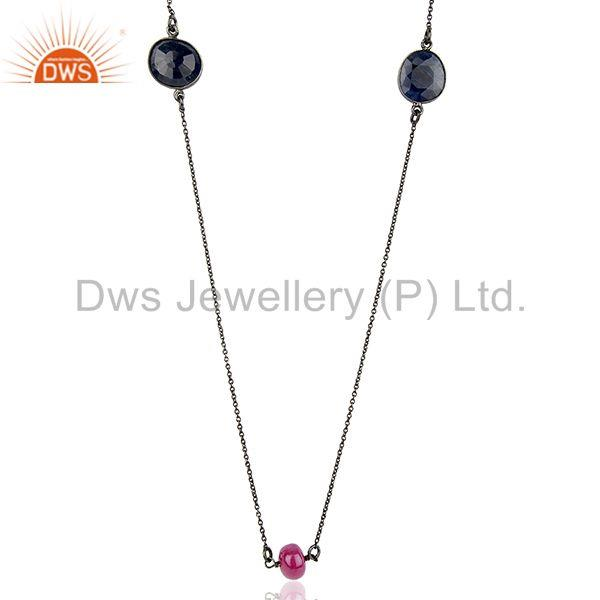 Natural Ruby & Blue Sapphire Gemstone Silver Necklace Jewelry Supplier