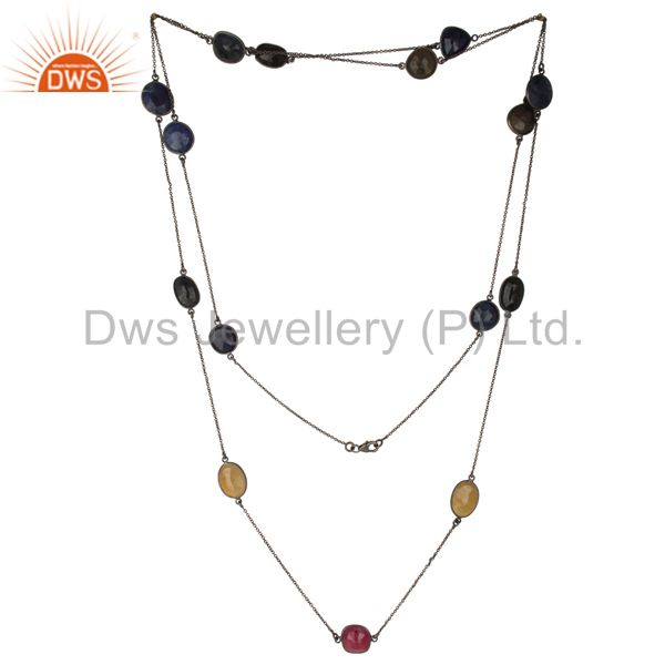 Multi color sapphire 48 inch chain necklace made in oxidized sterling silver