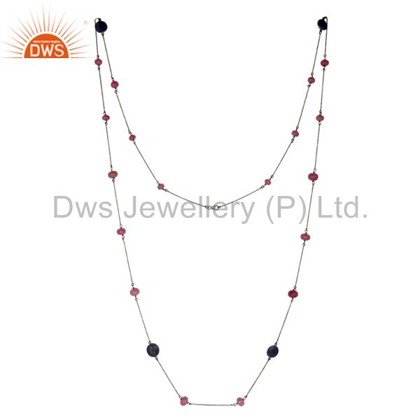 Oxidized 925 Sterling Silver Ruby Beads & Blue Sappire 48 Inch Chain Necklace
