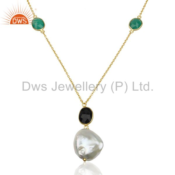 Baroque Pearl Onyx Gemstone Gold Plated Sterling Silver Gemstone Multi Strand