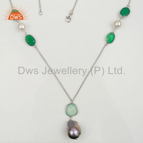Baroque pearl long chain chalcedony white rhodium silver necklace