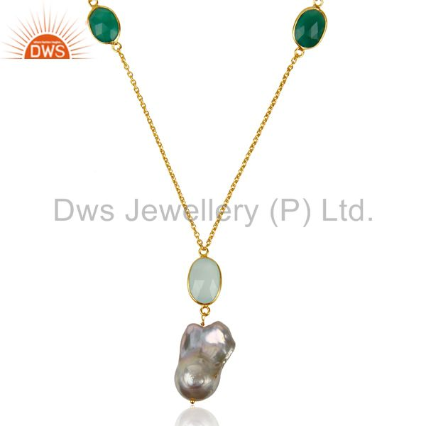 Baroque Pearl Long Chain Chalcedony Gold Plated Silver Necklace