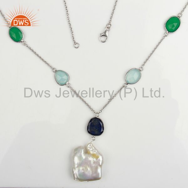 Multi gemstone bezel set sterling silver white rhodium plated pendant necklace