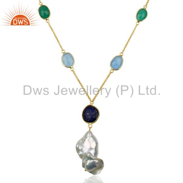 Multi Gemstone  Bezel Set 925 Sterling Silver 14K Gold Plated Pendant Necklace