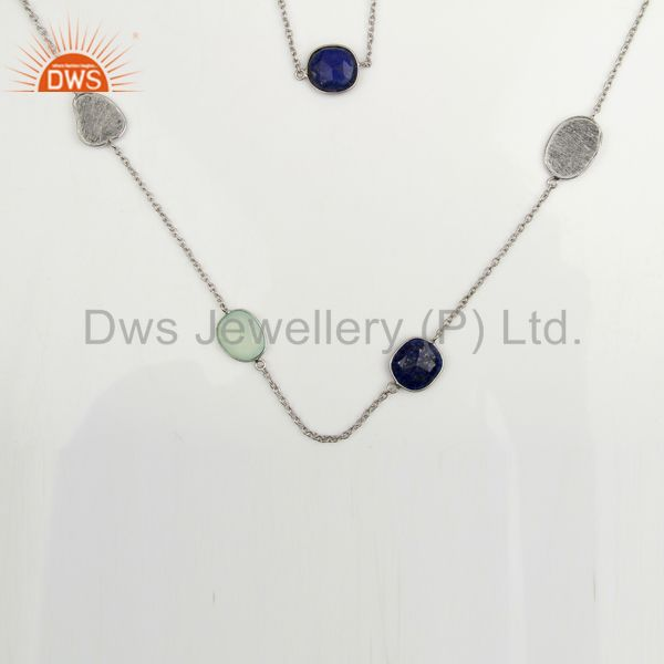 Aqua Chalcedony Lapis Lazuli White Rhodium Sterling Silver Necklace Jewelry