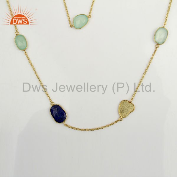 Aqua chalcedony lapis lazuli 14k gold plated sterling silver necklace jewelry