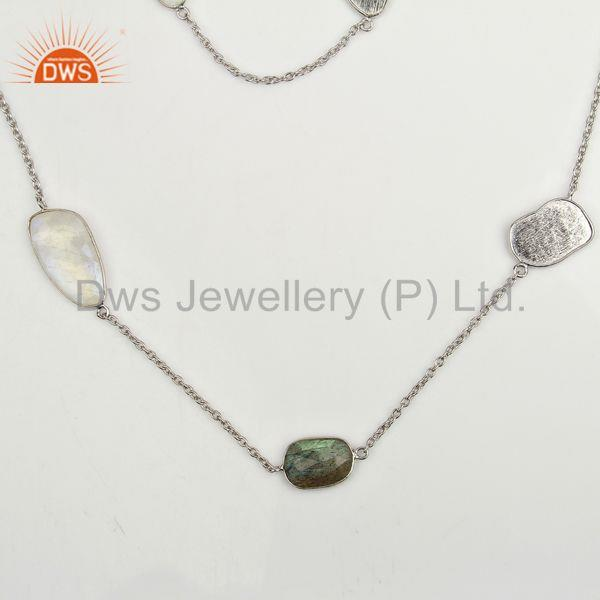 Multi Gemstone Bezel Set Sterling Silver White Rhodium Plated Long Necklace