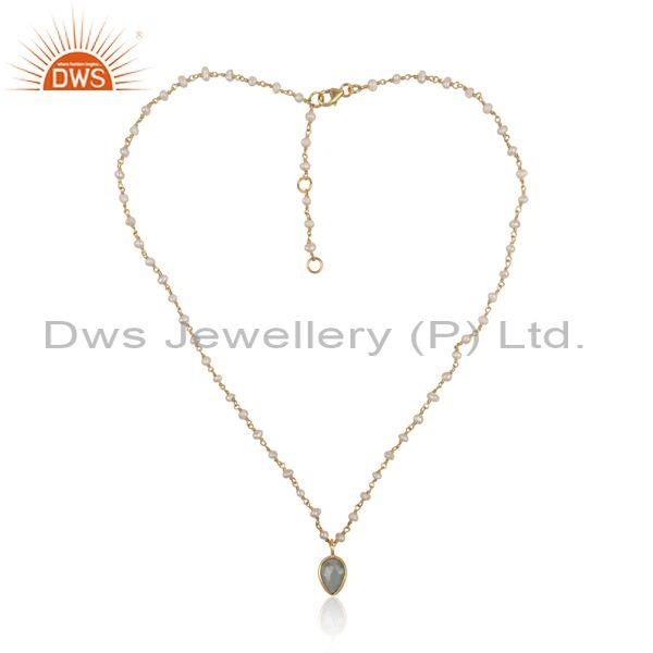 Aquamarine set classic gold on 925 silver pendant and chain