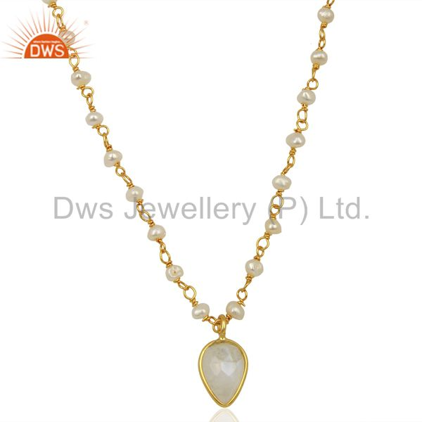Rainbow moonstone pearl 14k gold plated sterling silver pendant necklace jewelry