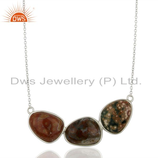 Ocean Japer Gemstone Sterling Silver Necklace Jewelry Supplier