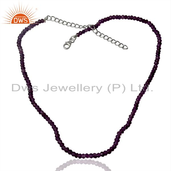 Natural Amethyst Gemstone Sterling Fine Silver Chain Necklace Supplier