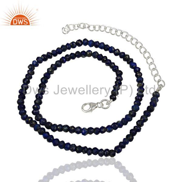 Lapis Gemstone Fine Silver Womens Chain Necklace Jewelry Supplier