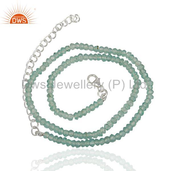 Apatite Gemstone Handmade Fine Silver Chain Necklace Jewelry Supplier