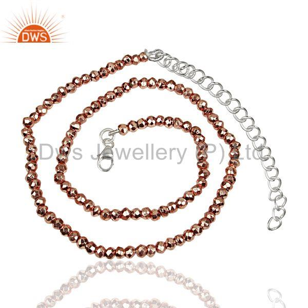 Rose Pyrite Gemstone Sterling Silver Chain Necklace Jewelry Wholesale