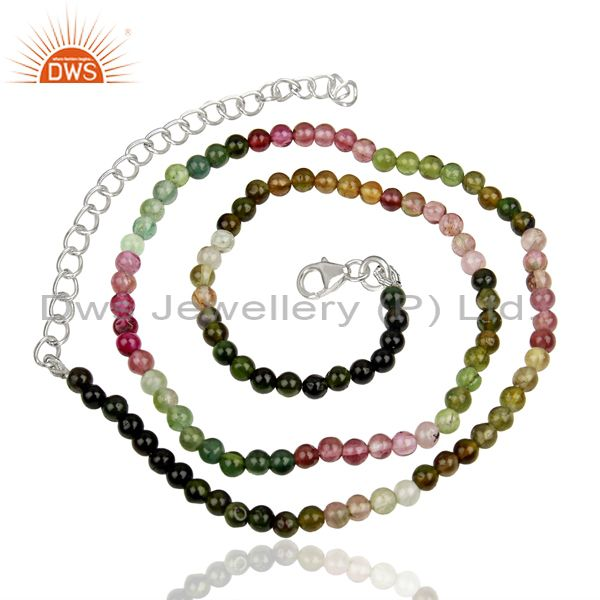 Tourmaline Gemstone Sterling Fine Silver Chain Necklace Jewelry