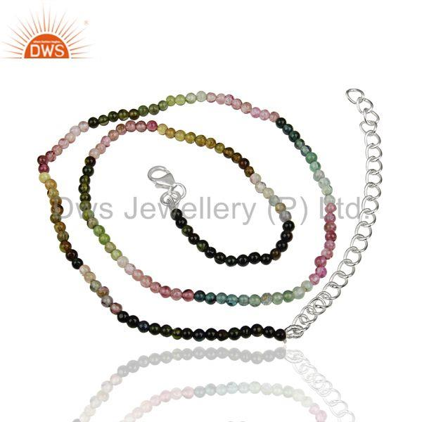 Multi Tourmaline Supplier Sterling Fine Silver Girls Chain Necklaces