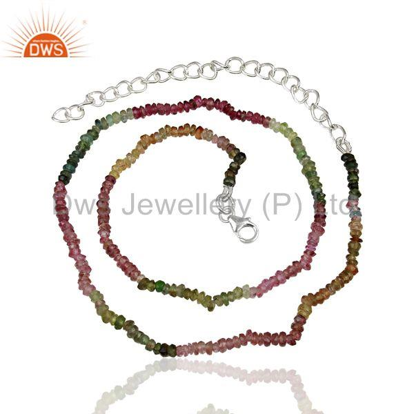 Wholesale Fine Silver Tourmaline Gemstone Fashion Necklace Supplier