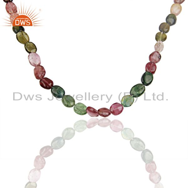 Handmade Tourmaline Gemstone Beads Silver Necklace Jewelry Wholesale