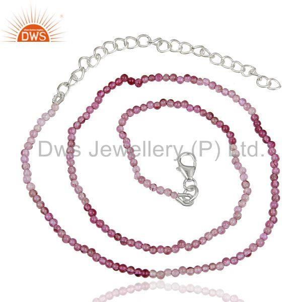 Pink Tourmaline Gemstone Sterling Silver Necklace Supplier Jewelry