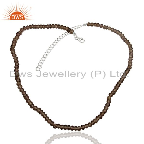 Smoky Quartz Gemstone Beads Supplier Silver Chain Necklace Jewelry