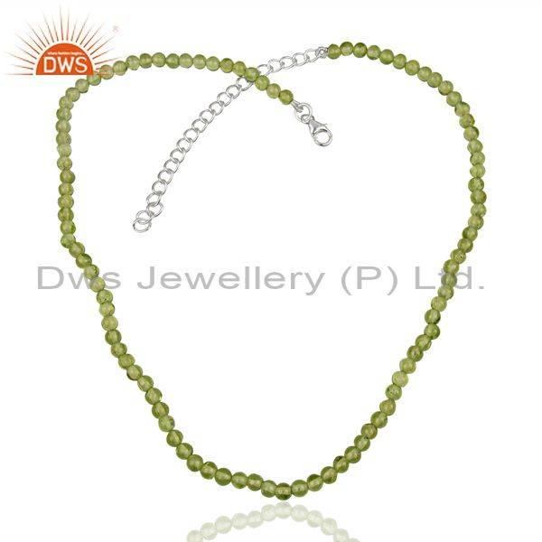 Peridot Gemstone Wholesale Fine Silver Chain Necklace Manufacturer