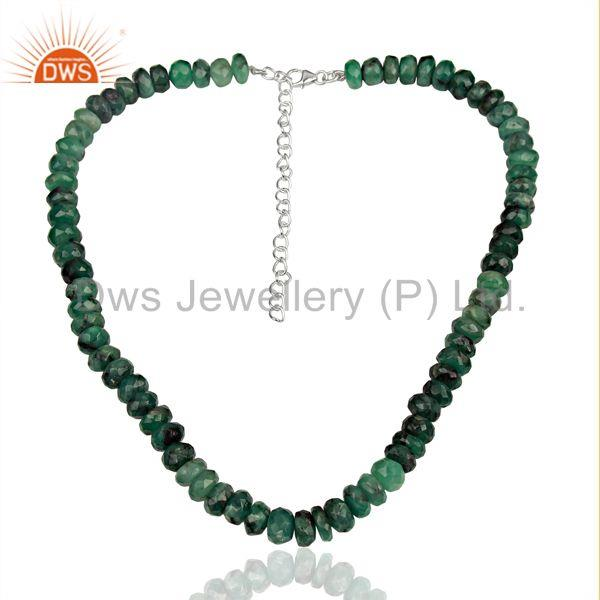 Emerald Gemstone Designer Fine Silver Necklace Manufacturer Jewelry