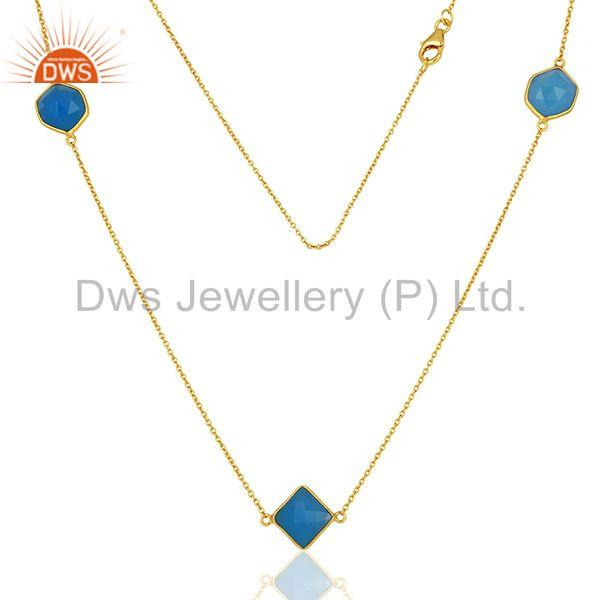 Gold Plated Silver Blue Chalcedony Gemstone Chain Necklace Jewelry