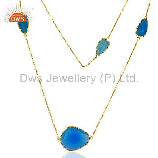 Blue Chalcedony Gemstone Gold Plated Silver Chain Necklace Jewelry