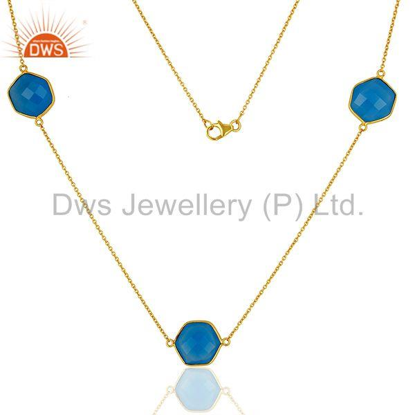 Blue Chalcedony Gemstone Silver Womens Necklace Jewelry Supplier