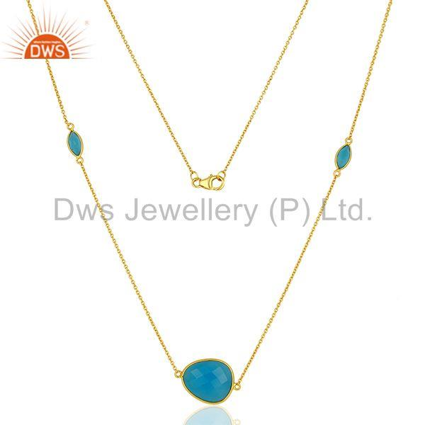 New Arrival Blue Chalcedony Gemstone Gold Plated Silver Necklace