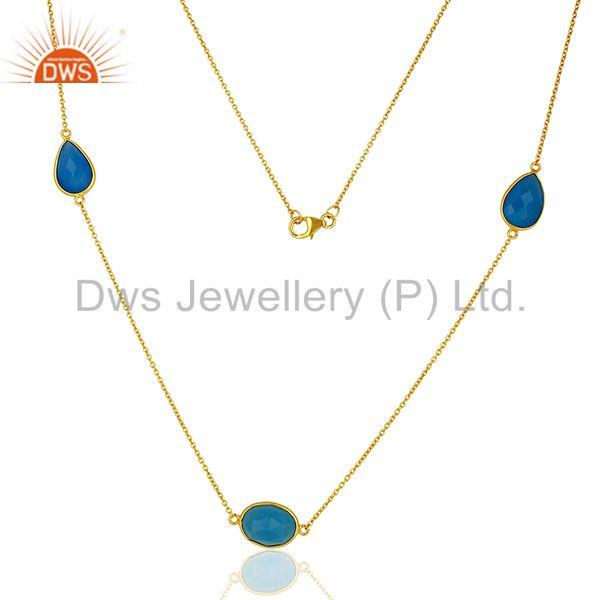 Indian Gold Plated Silver Blue Chalcedony Gemstone Necklace Jewelry