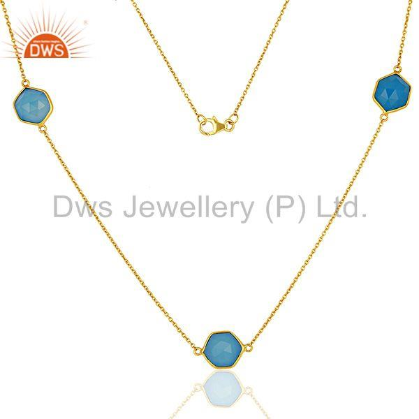 Blue Chalcedony Gemstone Gold Plated Silver Necklace Jaipur Jewelry
