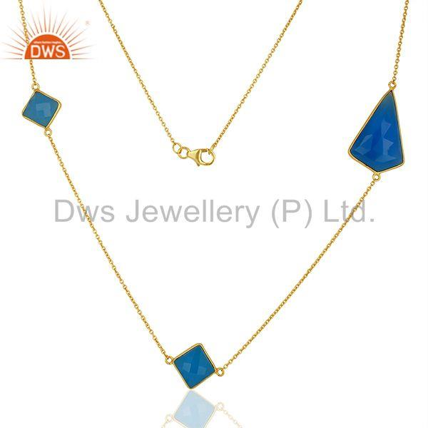 New Blue Chalcedony Gemstone Gold Plated Fashion Silver Necklaces