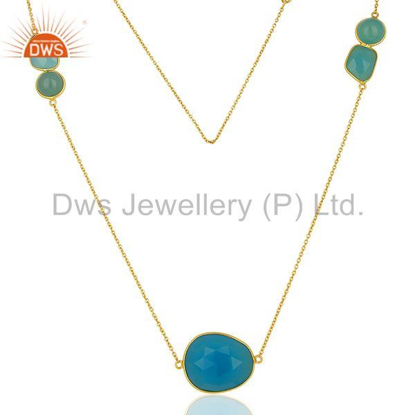 Jaipur Blue Chalcedony Gemstone Gold Plated Sterling Silver Necklaces