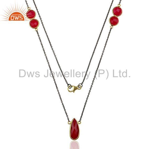 Supplier of pink chalcedony gemstone silver women necklace jewelry
