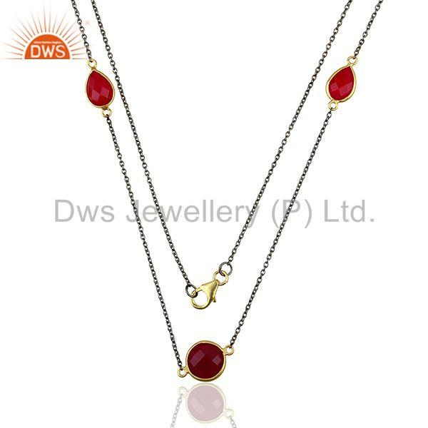Manufacturer of Pink Chalcedony 925 Silver Gemstone Necklace Supplier
