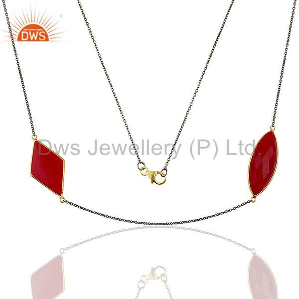Handmade Pink Chalcedony Gemstone Sterling Silver Necklace Supplier