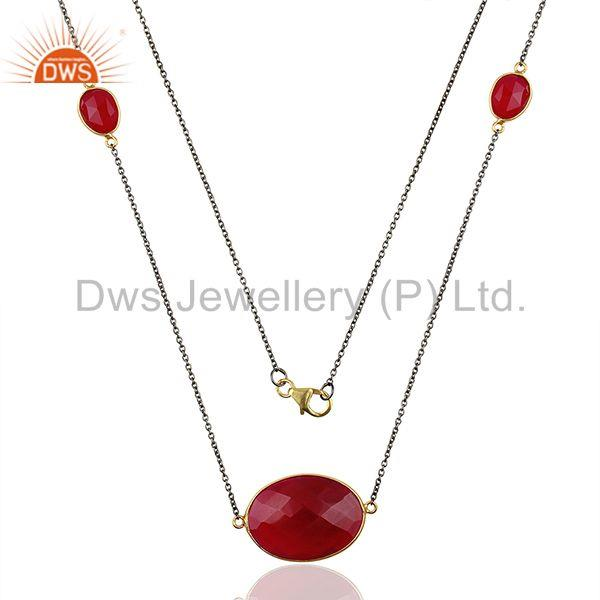 Supplier pink chalcedony gemstone 925 silver chain necklace jewelry