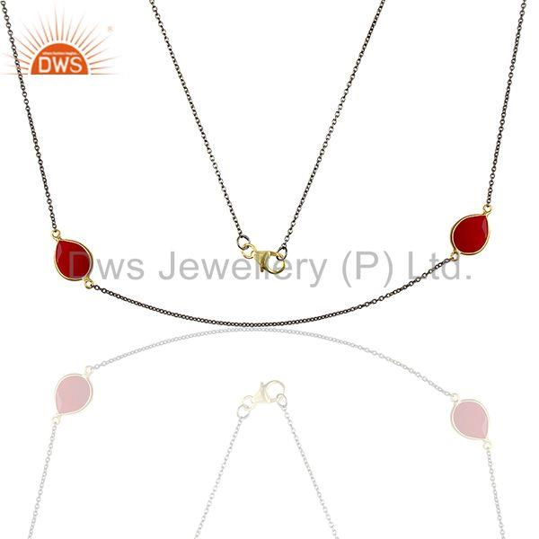 Wholesale Pink Chalcedony Gemstone 925 Silver Girls Necklace Jewelry